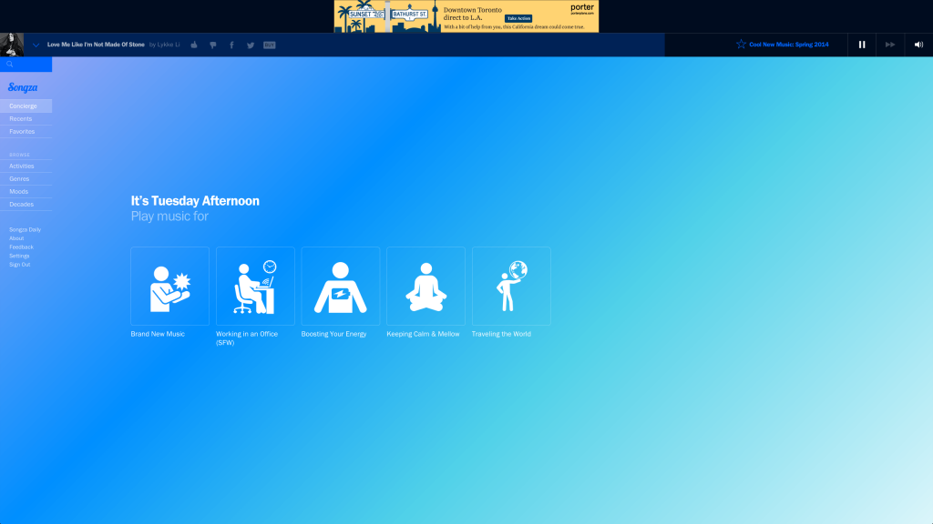 Songza Redesign (2014)