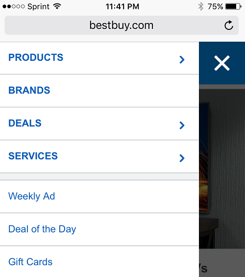 Best buy navigation
